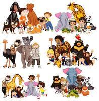 Set of animals and children