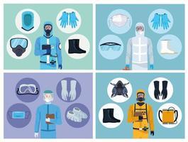 Elementos de equipo y trabajadores médicos para protección covid-19 vector