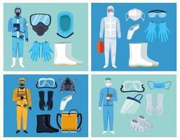 conjunto de equipos de potencia covid-19 para médicos y trabajadores de bioseguridad