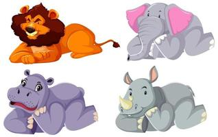 Set of animals laying down vector