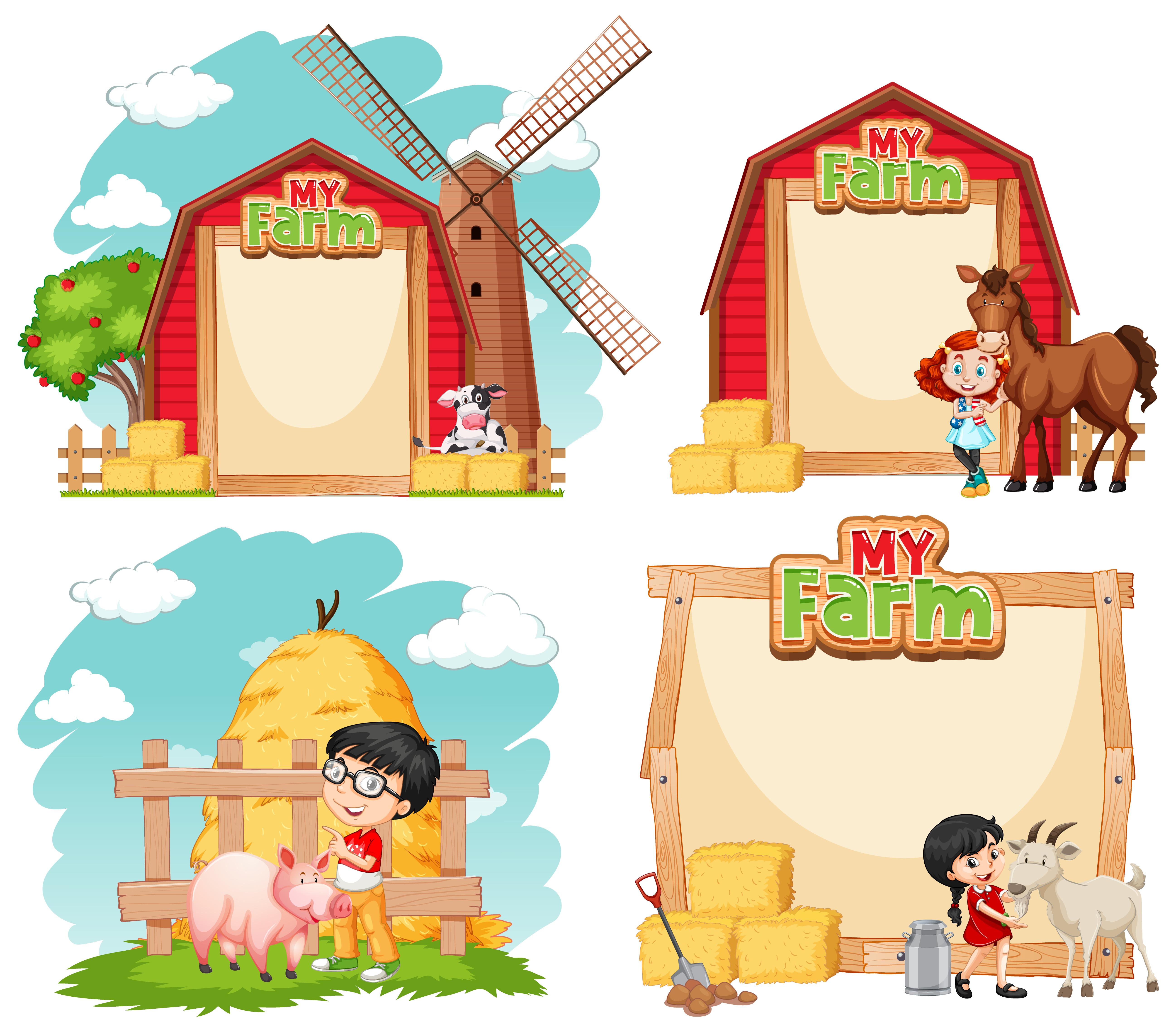 Children Illustration With Cartoon Farm Animals - Farm - Free Transparent  PNG Clipart Images Download