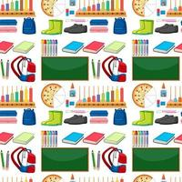 Seamless school items pattern vector
