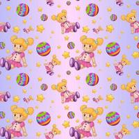Seamless pattern design with dolls and balls