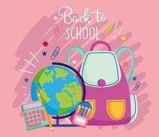 plantilla de tarjeta rosa de regreso a la escuela