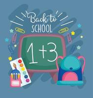 Back to school cute materials and chalkboard card template vector