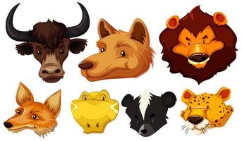 Set of various animal heads vector