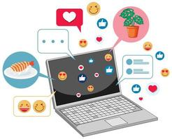 Notebook with social media icons theme vector