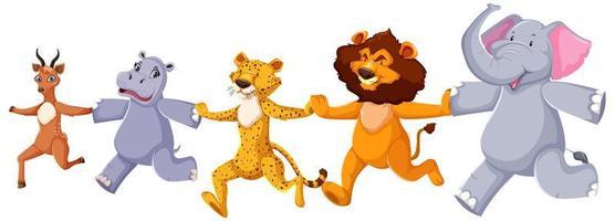 Happy wild animals running