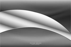 Metallic silver and gray curved design vector