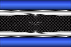 Metallic blue border and silver angled plates over grate texture