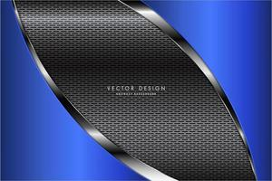 Metallic curved blue and silver panels over grate texture