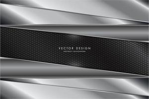 Metallic silver layered panels over gray carbon fiber texture