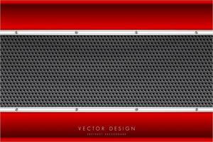 Metallic red and silver borders and carbon fiber texture