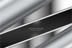 Metallic angled silver panels with dark grate texture