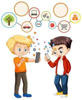 Boys using smart phone with social media icon theme vector