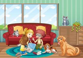 escena con niños trabajando en el piso en casa vector