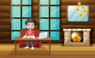 escena con niño trabajando en la tarea