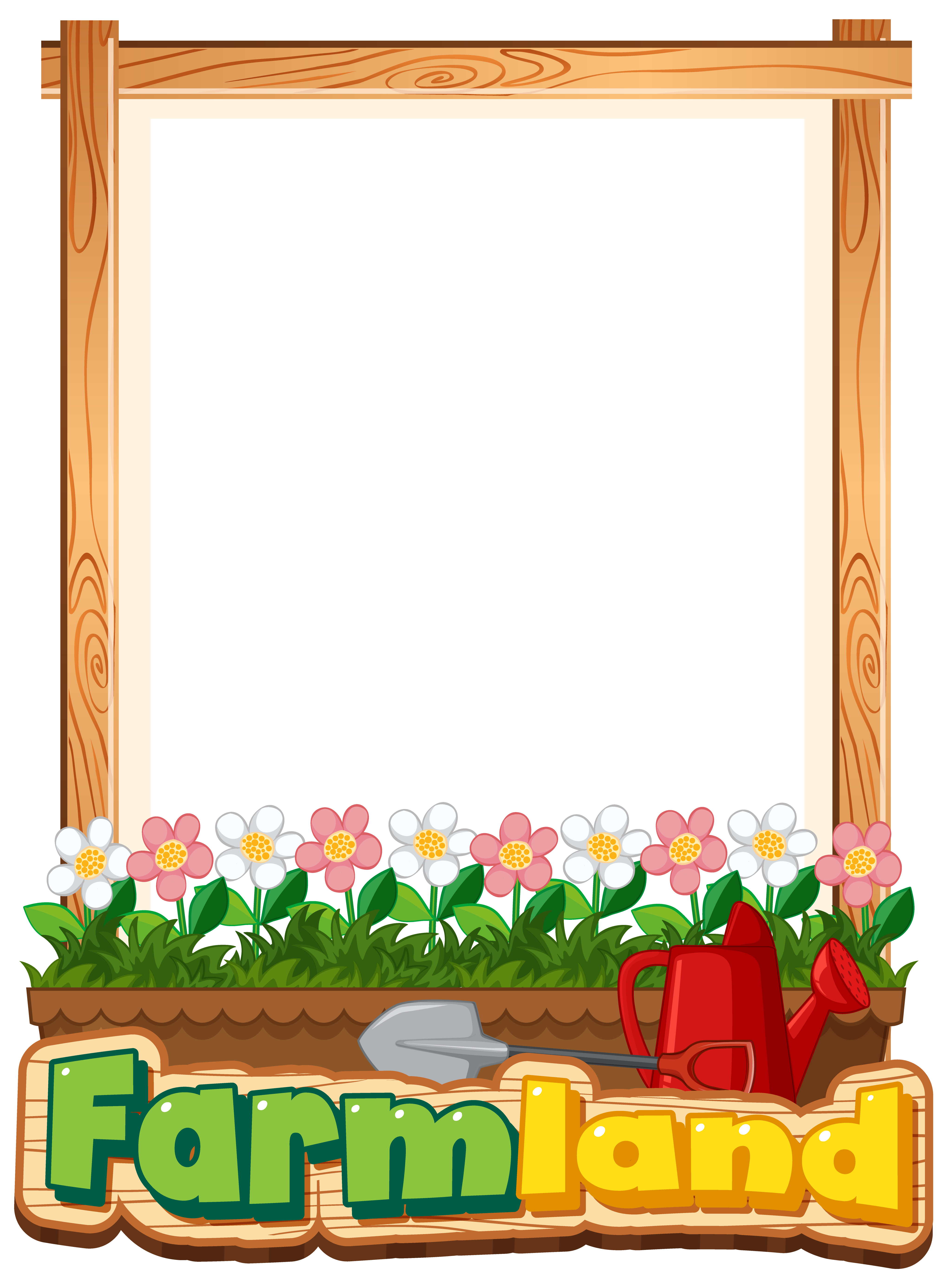 Border template design with flowers in garden - Download Free