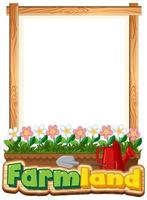 Border template design with flowers in garden