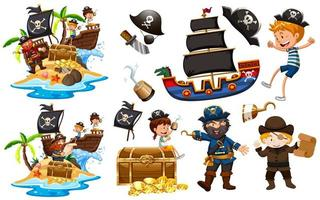 Set of pirates with ship and gold vector