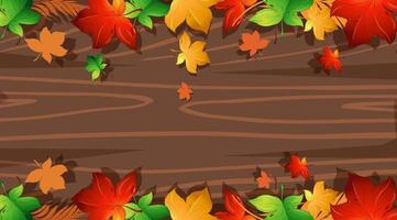 Wooden texture with colorful leaf borders vector