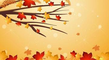 plantilla con hojas rojas en el árbol y el suelo
