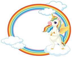 lindo unicornio en banner de cielo vector