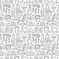 Home repair tools, instruments outline hand drawn seamless pattern