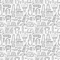 Herramientas de reparación del hogar, instrumentos esquema dibujado a mano de patrones sin fisuras