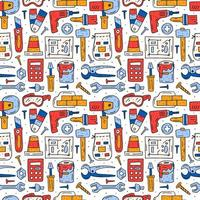 Home repair tools, instruments colorful hand drawn seamless pattern