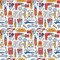 Herramientas de reparación del hogar, instrumentos coloridos dibujados a mano de patrones sin fisuras