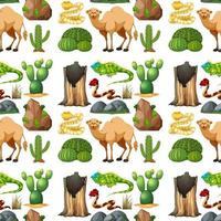 Safari animal seamless pattern with cute animals vector