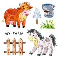 Cow, horse, grass, wooden fence, bucket, shovel watercolor set