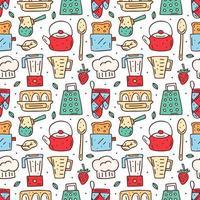 dibujado a mano cocina colorida de patrones sin fisuras vector