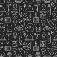 dibujado a mano estilo tiza elementos de cocina de patrones sin fisuras vector