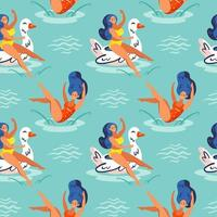 Girls jumping and floating in water seamless pattern vector