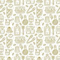 Hand drawn golden outline kitchen elements seamless pattern vector