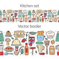 Hand drawn colorful kitchen food and items seamless border vector