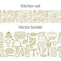 Hand drawn golden outline kitchen elements seamless border vector