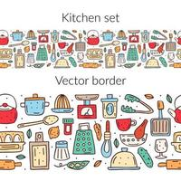 Hand drawn colorful kitchen elements seamless border