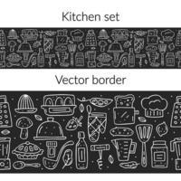 Hand drawn chalk style kitchen elements seamless border vector