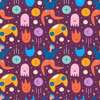 Video game characters and items seamless pattern vector