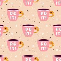 Pink cup of tea, coffee seamless pattern with shapes