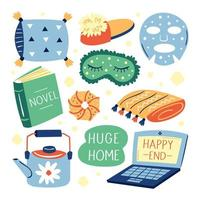 Set of different cute home lifestyle items vector