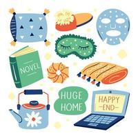conjunto de diferentes artículos lindos de estilo de vida hogareño vector