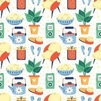Set of different cute home lifestyle items seamless pattern vector