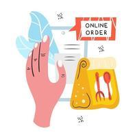 Online order hand holding phone doodle