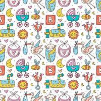 Baby clothes, toys colorful hand drawn seamless pattern vector