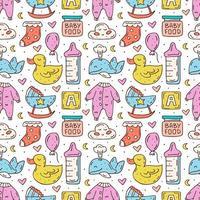 cuidado del bebé cosas colorido dibujado a mano de patrones sin fisuras vector