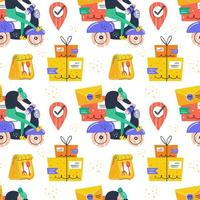 Man driving on delivery scooter seamless pattern